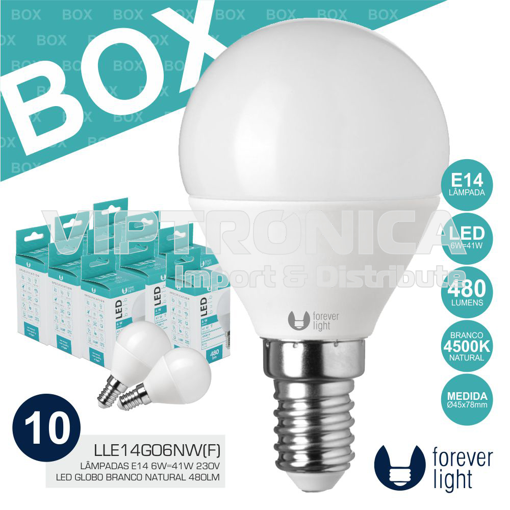 BOX 10 LÂMPADAS E14 6W=41W 230V LED BRANCO NATURAL 480LM