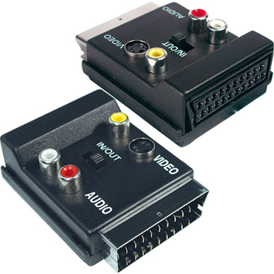 Adaptador Scart Macho/Femea mais 3 RCA Femeas com S-Video